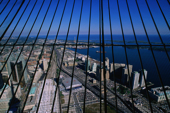 The view from the 1815.5 foot tall CN Tower in Toronto. Completed in 1975, the tower was the tallest freestanding structure of its time.