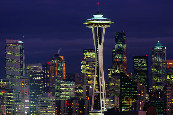 City at dusk with Seattle signature taking centre stage, the 1962 Space Needle, taken from Kerry Park.