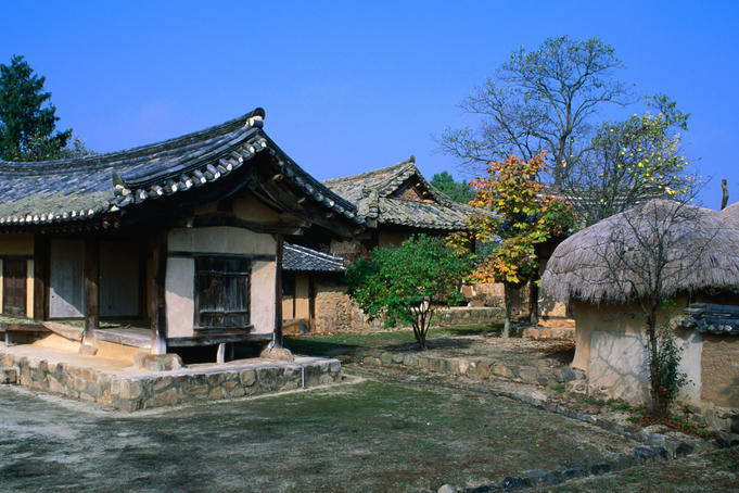 People still live in the traditional houses at the picturesque Hahoe Folk Village. It is preserved as a 16th century Korean town.