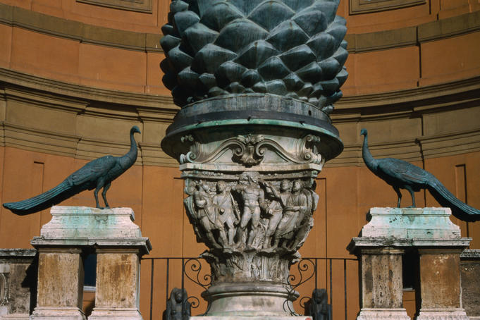 "Peacocks and "" Pigna Bronzea "" outside Vatican Museum."