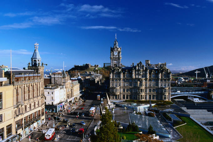 Looking up Princes Street and the Jenner Department Store (1895), to the left is the Victorian Balmoral Hotel tower