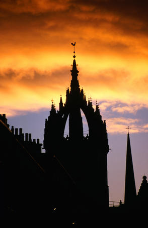 Crown spire of St Giles Cathedral at sunset.