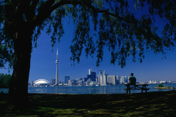 The Toronto city skyline from Toronto Island.