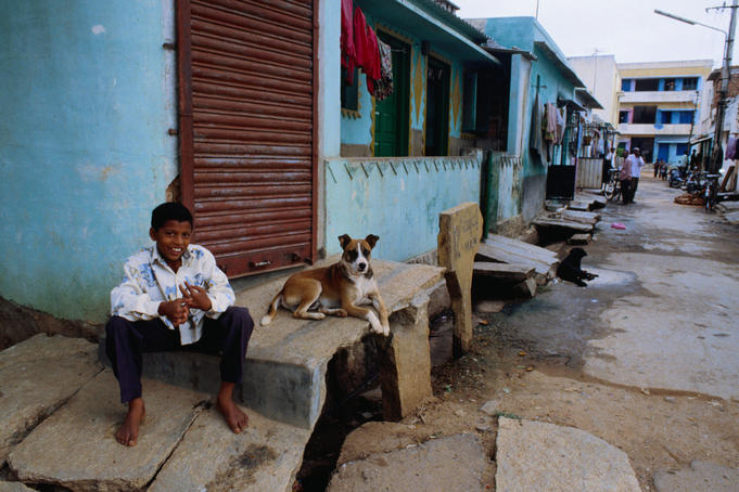 Boy and dog in JP Nagar Street.