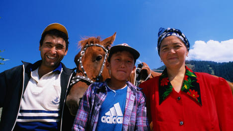 Family portrait with horse, Kazakhstan