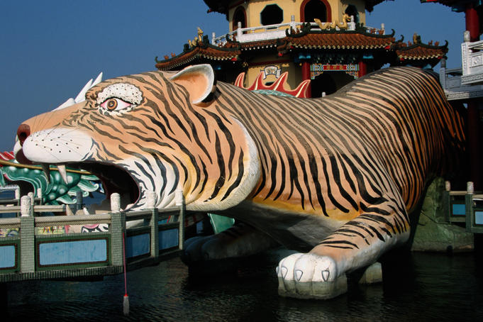 A colourful tiger sculpture at the Spring and Autumn Pavilion.