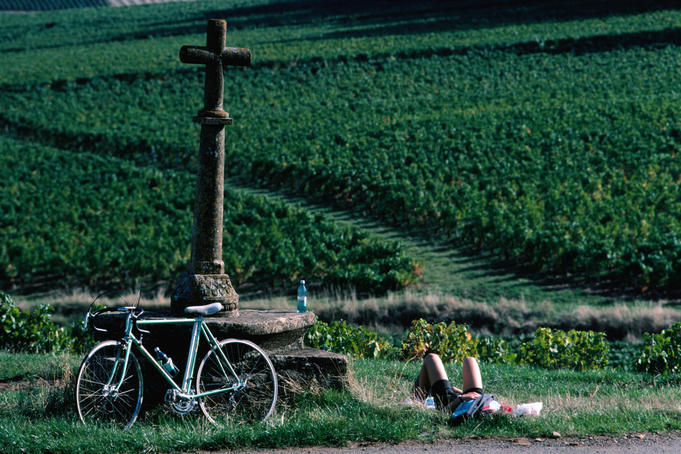 Cyclist taking break from cycling through the vineyards of  Beaujolais.