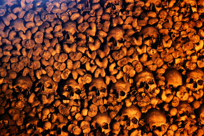 Human skulls and bones collected by Franciscan monks in Capela dos Ossos (Chapel of Bones), Igreja de Sao Francisco.