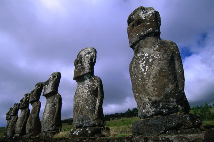 Traditional moai (Ahu Akivi) on Easter Island.