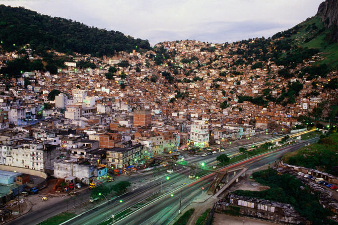 View of Rio's most famous favela, or slum, Rocinha, ironically in one of the wealthiest suburbs.
