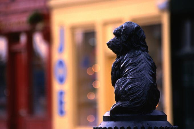 "Statue of Greyfriars Bobby outside a pub near Greyfriars church (Kirk), Edinburgh. ""Bobby"" was a Skye terrier who kept a watch over the grave of his master, an Edinburgh police officer, from 1858 to 1872"