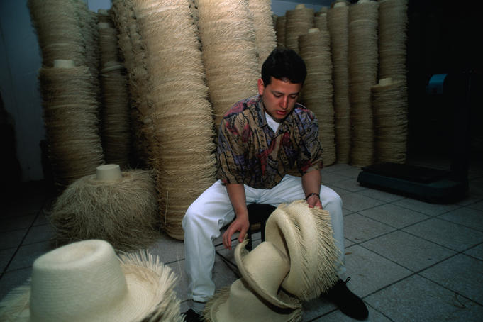 At work in the Panama Hat Factory in Cuenca.