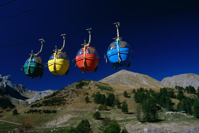 Colourful ski gondolas overlook the Col d'Allos (2240m) in Haute Provence.