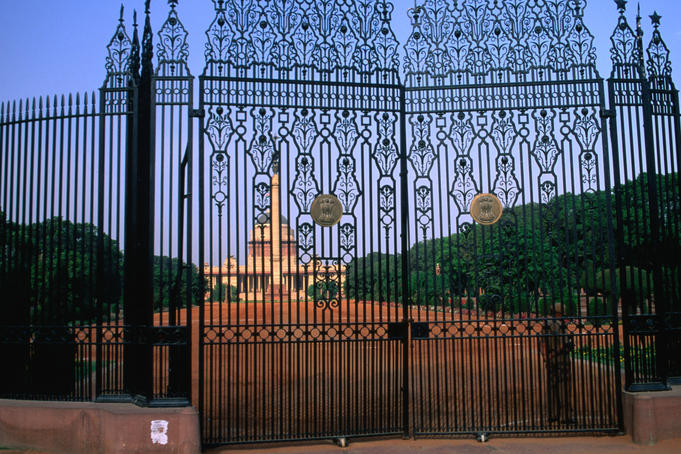 Decorative ironwork gates of Rashtrapati Bhavan, the official residence of the president of India, in New Delhi.