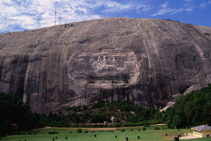Rock carving at Stone Mountain.