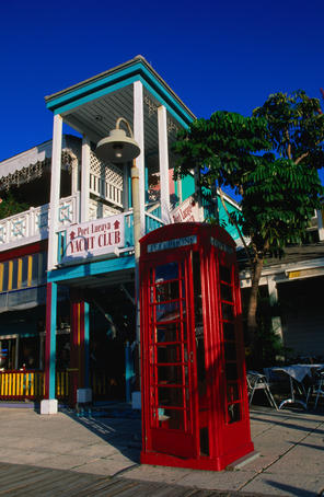English phone-box in Lucaya Marketplace on the Grand Bahamas.