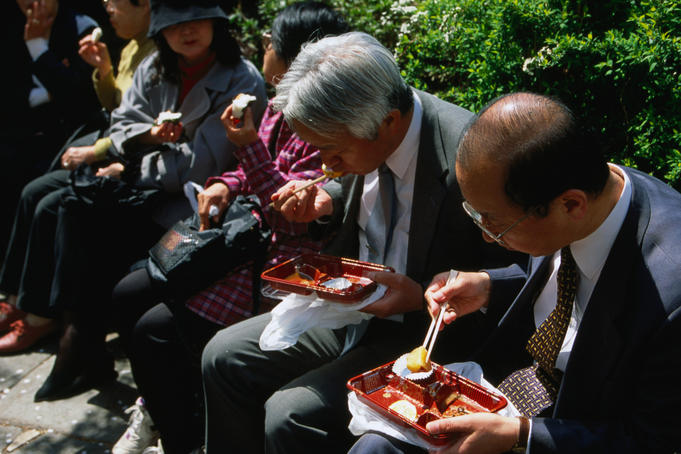 Lunchtime for the salarymen, at the Imperial Palace- Tokyo, Japan