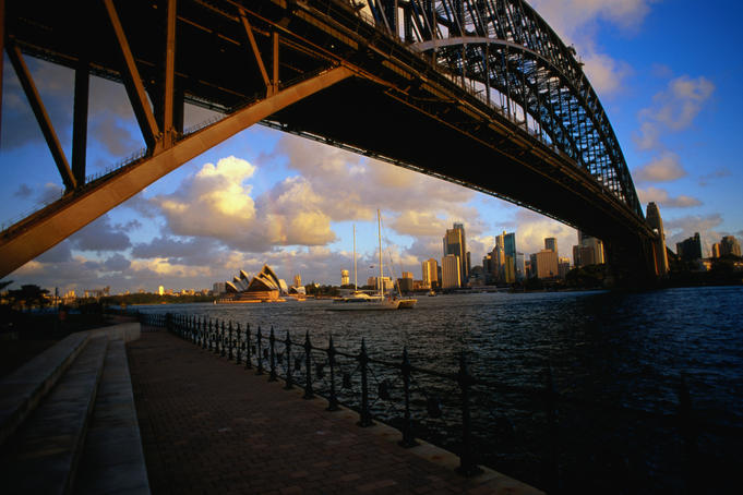 Opera House and harbour underneath bridge.