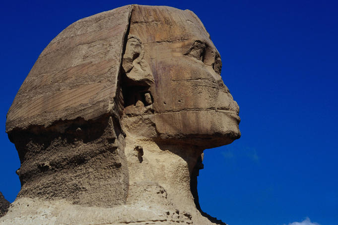 Close up of the head of the Great Sphinx at Giza.