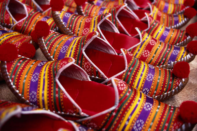 Detail of turkish slippers at market.