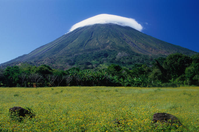 La Concepcion volcano with cloud surrounding summit.