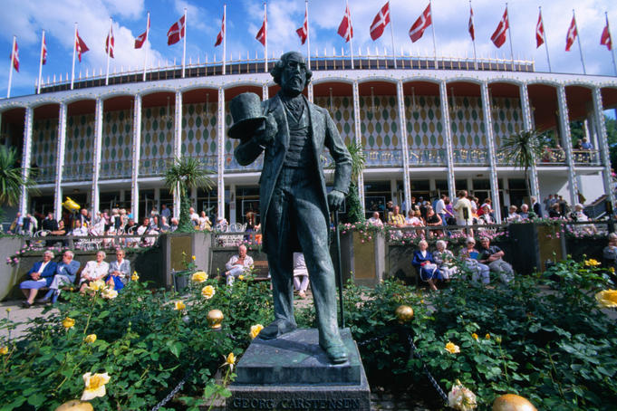Statue of Georg Carstensen in the Tivoli Gardens of Copenhagen. Georg Carstensen created the park in 1843.