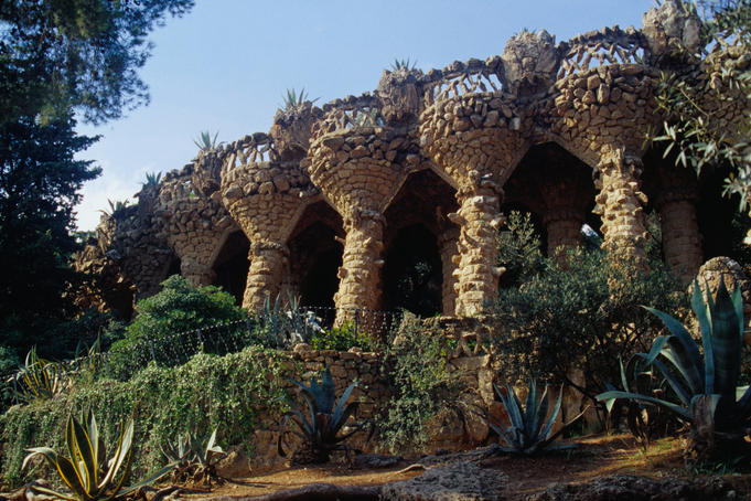 The miniature garden city in Guell Park, Barcelona.