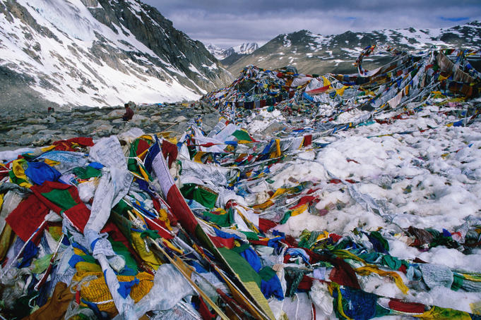 Prayer flags at Dolma La pass, on the circuit around the base of Mt Kailash, Ngari region.