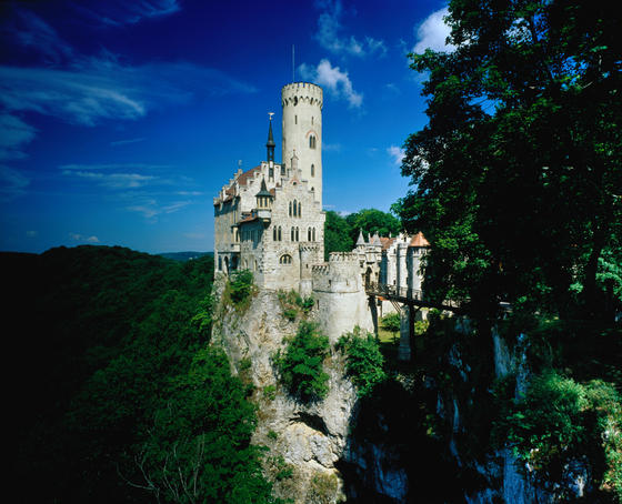 Lichtenstein Castle perched on a steep rock outcrop near Stuttgart. The castle was built from 1840 to 1841 by Duke Wihelm of Urach.