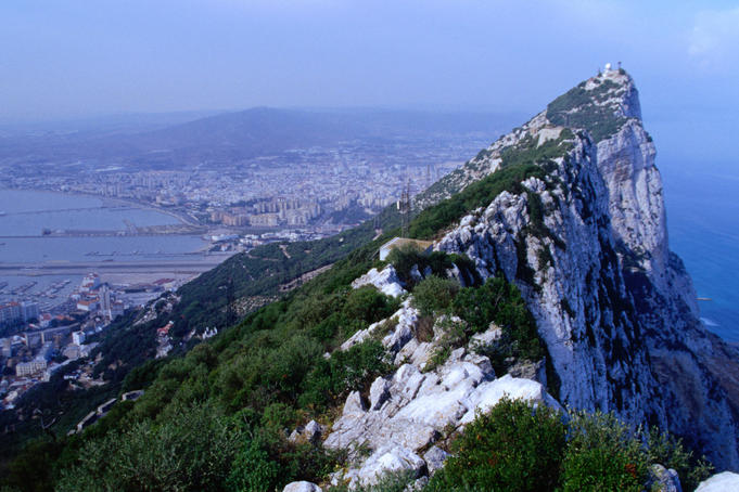 View of the rock of Gibraltar from the top cable-car station.