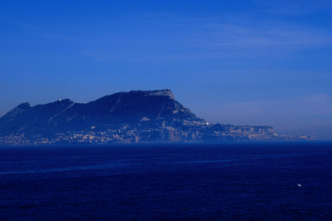 The Rock of Gibraltar, viewed from the Strait of Gibraltar.