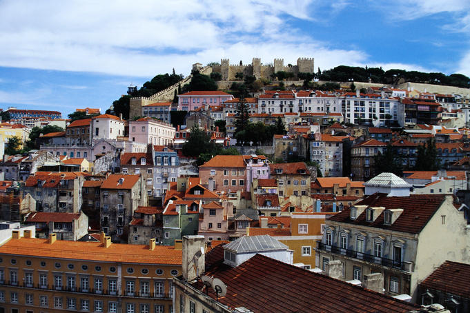 Castelo de Sao Jorge (originally called Lisbon Castle) perched high over the city of Lisbon.
