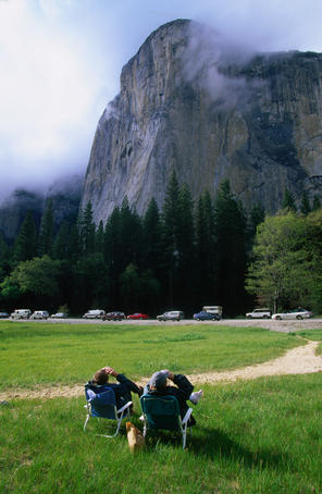 The less adventurous and the less crazy can get their rock-climbing thrills just laying back and watching climbers scale the enormous cliff face of El Capitan, the world's largest granite monolith- Yosemite National Park, California