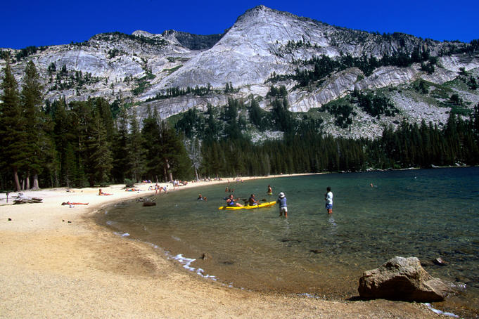 Setting out for a paddle around Tenaya Lake, in the Yosemite National Park- California