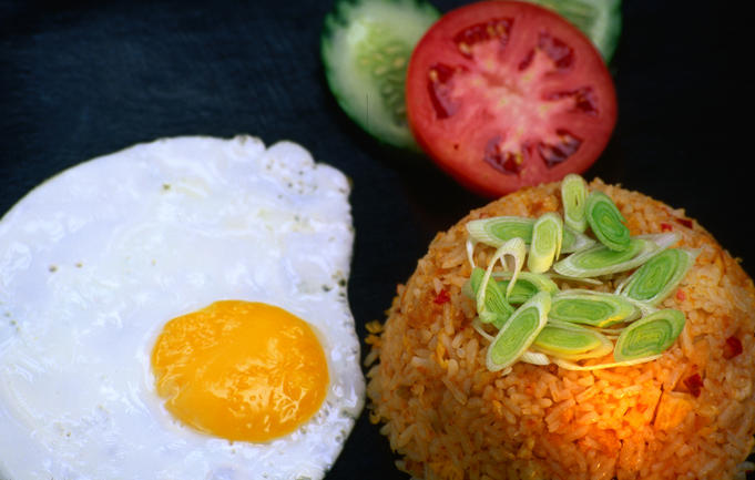 Nasi goreng and a boiled egg on the side from Gaja Biru restaurant in Ubud.