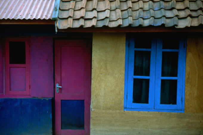 Colourful houses of Mount Bromo.