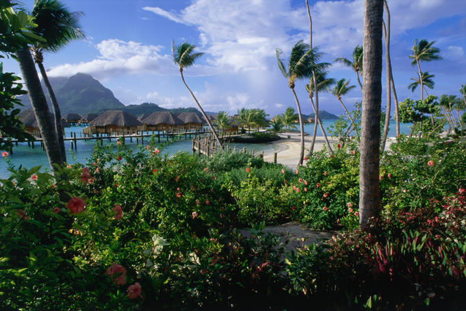 Overwater bungalows at the Bora Bora Pearl Beach resort.