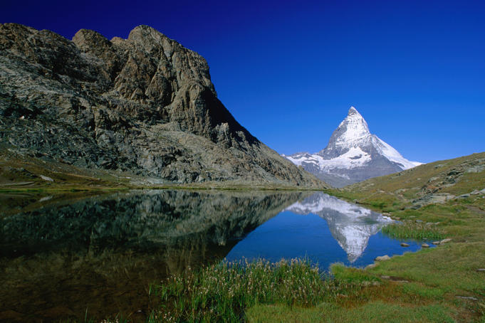 The Matterhorn reflected in the Riffelsee near Rotenboden.
