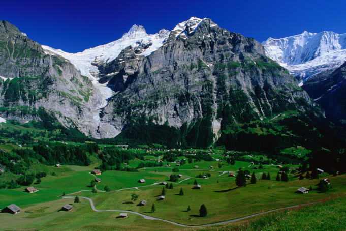 View to the Schreckhorn and Upper Grindelwald Glacier, Bort.