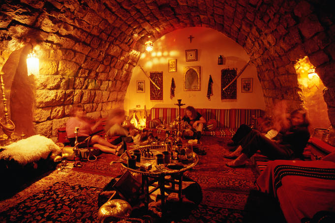 Tourists relax in a nargile (hookah, shisha) den in Beirut.