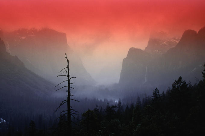 The angular beauty of the Yosemite Valley is awash with natural pastel light tones.