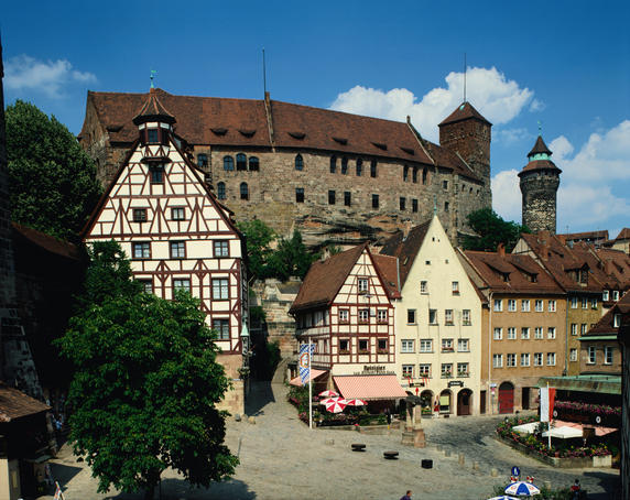 The famous city of Nuremberg and imposing Gothic Kaiserburg Castle (Emperor's Castle).