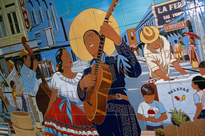 Close up of the wall mural 'La Feria' by Jesse Trevino, in the market square, San Antonio.
