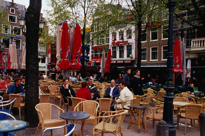 Leidseplein square with its coffee houses and outdoor dining.