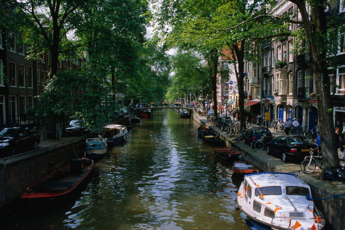 A shady canal scene looking south down Prinsengracht.