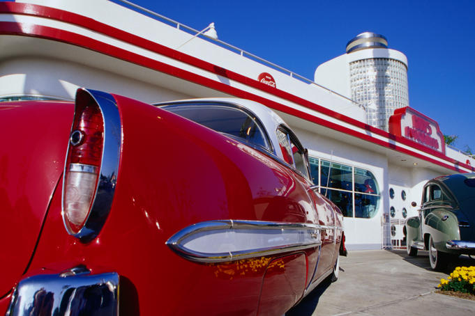 Classic 1950s style Diner, Ruby's Autodiner, Laguna Beach, Orange County.