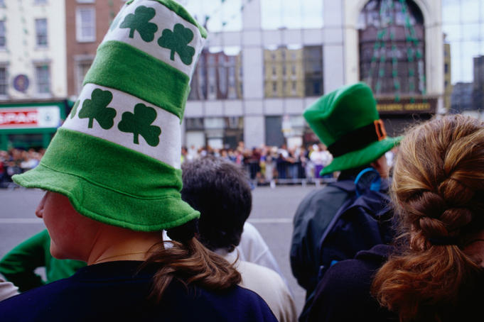 Spectators' headwear at the St Patrick's Day Parade.