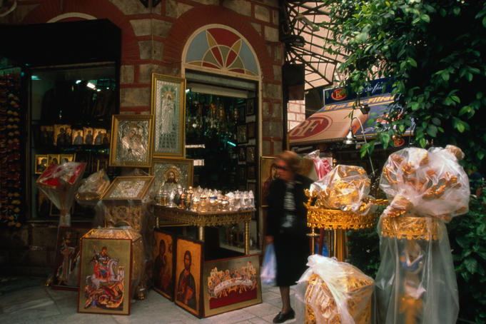 A shop selling religious artifacts and icons.
