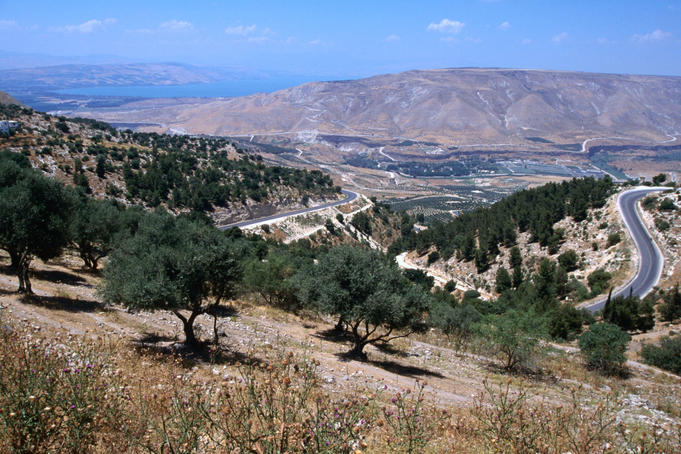 A view of the Jordan Valley and the Sea of Galilee (Lake Tiberias). Israel is on the far side of the valley.