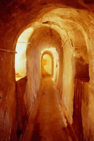 An old tunnel in the cellars of the Antoniou Winery on Santorini.